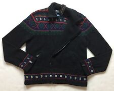 Polo Ralph Lauren Men Fair Isle 100% Wool Hand-Knit Sweater Cardigan Jacket L