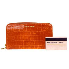 Auth MIU MIU Long Zippy Bifold Wallet Purse Embossing Leather Orange 08D548
