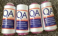QA 2000m Overlocker Thread 4 x White -100% Polyester, Superior Quality
