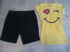 ELLE misses sz 6 bermuda long jean shorts & NEW NWT Smiley Face top sz S LOT R2