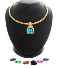 Joan Rivers 7-Color Changeable Pendant w/ Cable Necklace Goldtone