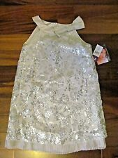 NWT BISCOTTI Girls Silver Sequence Sleeveless Dress Size 12