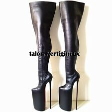 Full genuine leather thigh high boots extreme high heels 40 cm (26 cm platform)