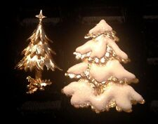 2 Vtg Gold Tone Christmas Tree Brooches - Tree with White Glitter Snow Signed JJ