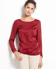 Ann Taylor - Woman's Small (4-6) Socialite Red Chiffon Sleeve Top $79.00 (H)