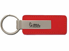 Ball State University - Leather and Metal Keychain - Red