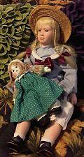 """Vintage Victoria Impex Corp. Amy 24"""" Porcelian Doll plus vintage cloth doll"""