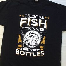 Fish From Water Beer From Bottles Outdoors Funny Graphic Black T-Shirt Large L