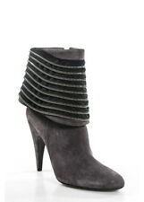 NEW ALEXANDRA NEEL Gray Suede Tiered Zipper Ankle Boots Sz 40 10 IN BOX