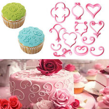 12Pcs Lace Heart Cookies Pastry Fondant Cutter Embossing Wedding Cake Decor Mold