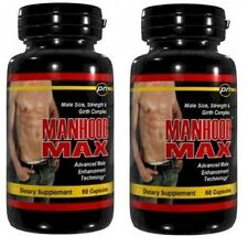 2 Bottles 2x Manhood Max Penis Enlargement Pills GROW Erection 4 Inches ""