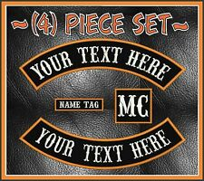"CUSTOM EMBROIDERED 4 PIECE 13"" ROCKER PATCH SET MC NOMAD OUTLAW MOTORCYCLE BIKER"