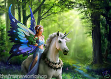 ANNE STOKES REALM OF ENCHANTMENT UNICORN - 3D FANTASY PICTURE 400 x 300mm