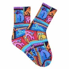 Laurel Burch K.Bell Bright Colorful Dogs Crew Womans Polyester Blend Sock New