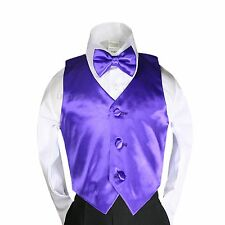 23 Colors New Satin Vest + Bow Tie set for Baby Boy Kids Formal Tuxedo Suit S-7