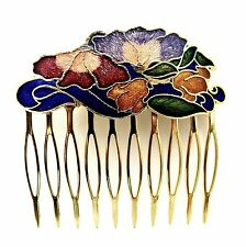 Cloisonne Hair Comb Blue Flowers Painted Enamel Vintage Style Updo Hair Clip Pin