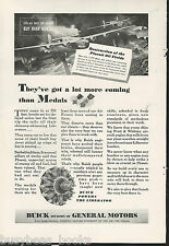 1944 BUICK advertisement, Pratt & Whitney engine LIBERATOR bombing Ploesti