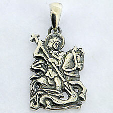 .925 Sterling Silver Oxidized St George Pendant