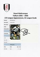 STEED MALBRANQUE FULHAM 2001-2006 ORIGINAL HAND SIGNED CUTTING/CARD