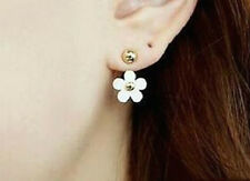 WHITE DAISY FLOWER DROP DOUBLE STUD EAR CUFF EARRINGS