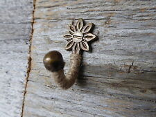 Jute Rope Wrapped Small Mini Wall Metal Hook ~ Antique Bronze Flower Design NEW