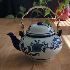 **SALE** Ceramic Tea Pot - Blue & White Flower Print