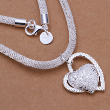925 Hallmark Sterling Silver Filled SF Heart Love Pendant  Chain Necklace N411