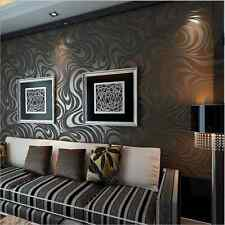 Embossed Luxury Abstract Curve 3D Mural Papel De Parede Flocking Wallpaper Roll