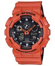 Brand New Casio G-Shock GA100L-4A Military 3-Eye Ana-Digi Orange/Black Watch NWT