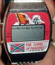 1981 DUKES OF HAZZARD *UNISONIC* LCD QUARTZ WATCH W/DIXIE MELODY UNUSED IN BOX