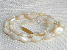 vintage Mother of Pearl MOP beads necklace ROUND & Oval graduated ~55g