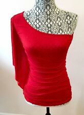 BODY CENTRAL HOT DEEP RED ONE SHOULDER SLEEVELESS SUMMER TANK BLOUSE TOP SIZE S