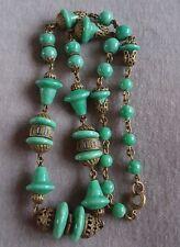 Antiguo Art Deco De Cristal Checo Max Neiger Verde Pekín Azul Esmalte Latón Collar
