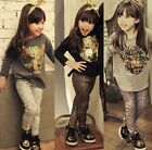 2pcs Toddler Kid Baby Girl Outfits Long Sleeve T-shirt+Leopard Pants Clothes Set