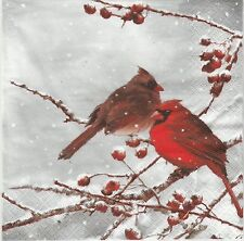 2 Serviettes en papier Oiseau Cardinal - Paper Napkins Bird on snowy Branch