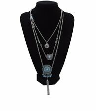 Women's Fashion Jewelry Charm Turquoise Flower Pendants Layers Chain Necklace