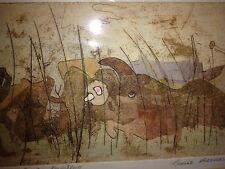 Louis Bernard Listed Chicago Modernist Expressionism Artist Colored Etching Wow!