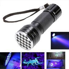 Mini UV Ultra Violetti 21 LED Torcia Lampada a ultravioletti Alluminio torcia