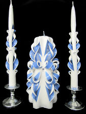 Set of 3 Royal Blue & White hand-carved bows wedding unity candles Ready To Ship