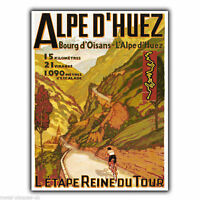 METAL SIGN WALL PLAQUE Alpe d'Huez Bourg d'Oisans Retro Vintage poster print art