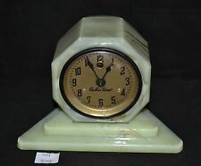 ThriftCHI ~ 1930's Vidrio Uranium Slag Glass Desk Clock Wabash Electric Time