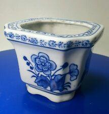 """Signed Vtg Bombay Flow Blue Square Porcelain Planter Vase Candle Holder 3"""" x 4"""""""