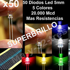 x50 Diodos Led 5mm - 5 Colores Alta Calidad SUPER BRILLO + Resistencias- Arduino