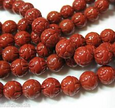 """Red Jasper 8mm Round Carved 24 Beads 7.5"""" Beautiful Accent Spacer Focal Designs"""
