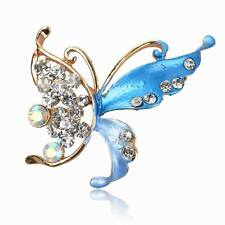 Classic Butterfly Enamel Rhinestone Crystal Breastpin Pin School Brooch Bouquet