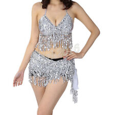 Belly Dance Costume Perform Show Sequin Fringe 2 Pcs Halter Top Bra&Belt Silver