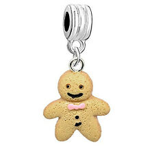 Ginger Bread Man Dangle Charm Bead Compatible with European Snake Chain Bracelet