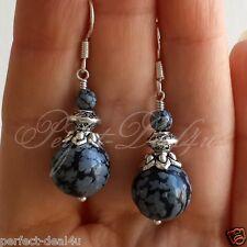 925 Sterling Silver Hook Natural Snowflake Obsidian Tibetan Silver Grey Earrings