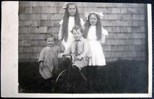 FORTSON WA~1912 FAMILY SKEERS PHOTO~GRAND CHILDREN~TRICYCLE ~Real photo pc RPPC