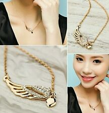 New Design Fashion  Charm Jewelry Angel Wings Love Heart Pendant Chain Necklace